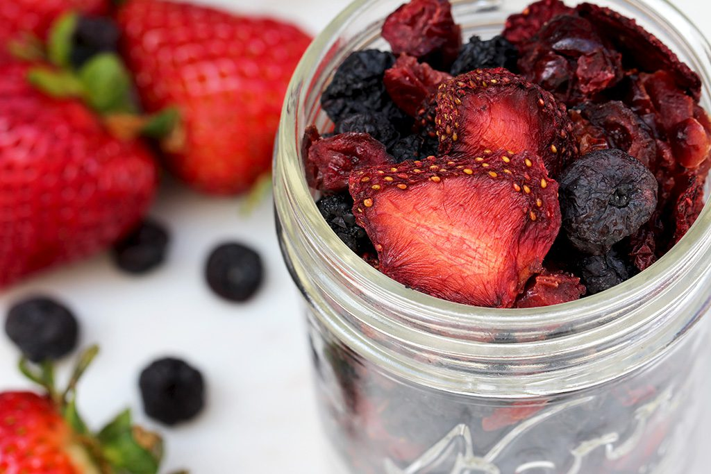 Dried Blueberries, Cranberries and Strawberries.